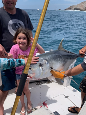 156bc77695d56 A trip to Cabo for a family outing-- the 8 year old daughter does well on a  big Jack Crevalle- those Sargossa spinning reels work well with children-  not ...